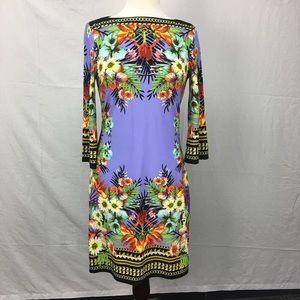 ECI Lavender Tropical Floral Print Shift Dress